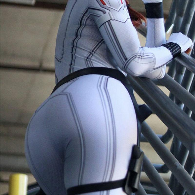 Black Widow uniforme blanc cosplay
