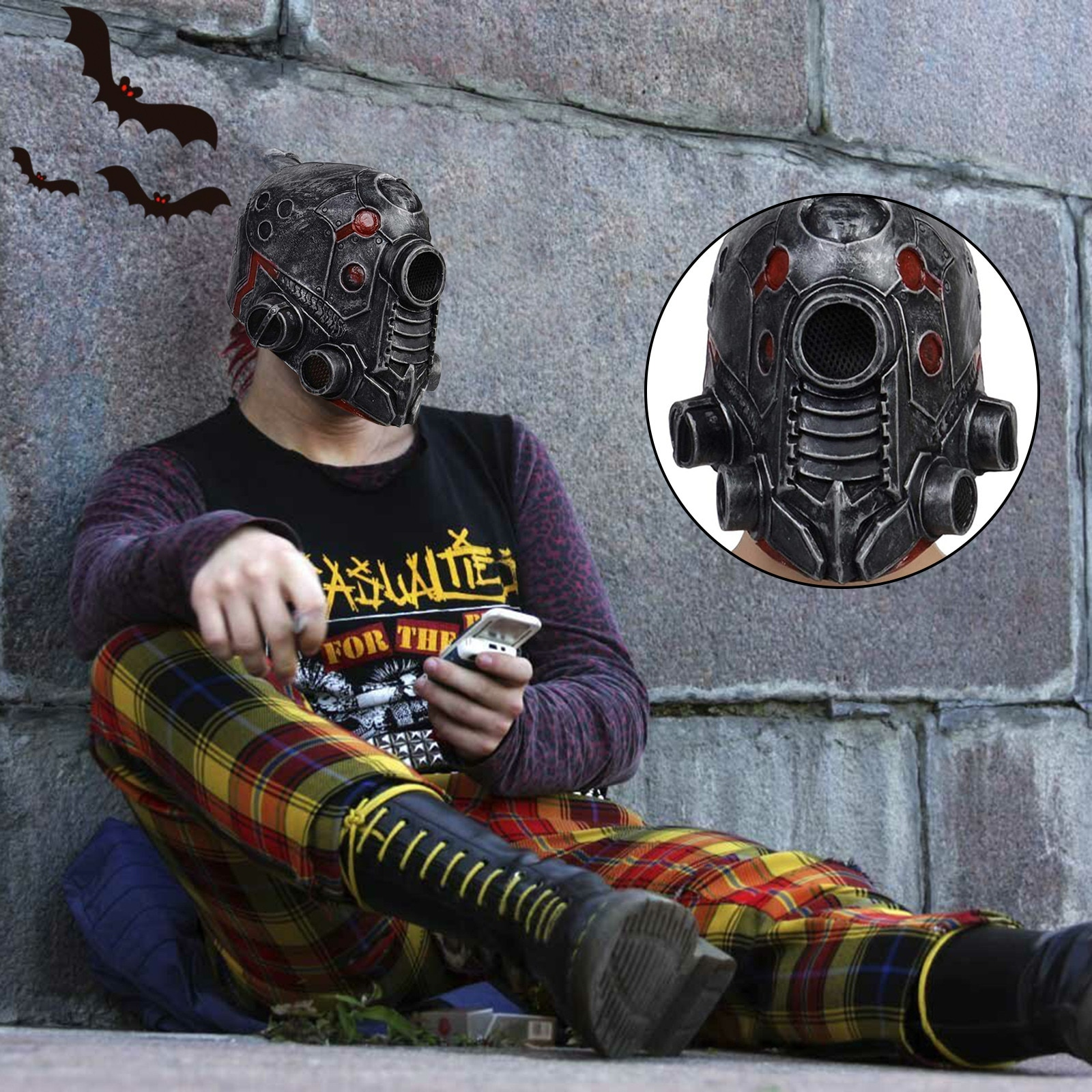 Robot Cyberpunkes Steampunk Mask Cosplay Prop Halloween Masque Helmet Latex Full Head Mask Party Costume Horror Mask Masquerade